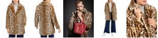 Calvin Klein Leopard-Print Faux-Fur Coat