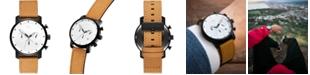 MVMT Men's Chronograph White Black Tan Leather Strap Watch 40mm