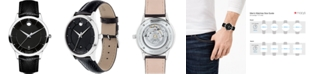 Movado Men's Swiss Automatic 1881 Black Leather Strap Watch 40mm