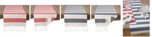 Saro Lifestyle Cotton Striped Tassel Runner