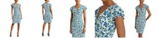Lauren Ralph Lauren Jersey Flutter-Sleeve Floral Dress