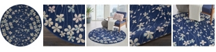 """Long Street Looms Peace PEA04 Navy 5'3"""" Round Area Rug"""