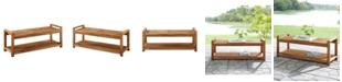 "Walker Edison 48"" Chevron Acacia Wood Outdoor Patio Storage Bench"