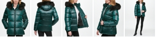 DKNY High-Shine Faux-Fur Trim Hooded Puffer Coat