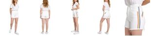 Celebrity Pink Juniors' High Rise Cotton Rainbow-Stripe Denim Shorts