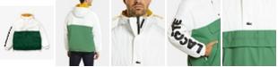 Lacoste Men's LIVE Long Sleeve Colorblock Parka Jacket with Oversized Lacoste Print