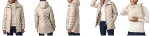Bernardo Bibbed Hooded Packable Puffer Coat