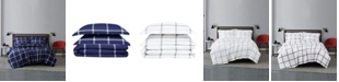 Truly Soft Printed Windowpane 3 Piece Duvet Cover Set, King