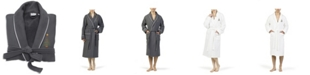 Linum Home X-Mas Tree Waffle Terry Embroidered Bathrobe with Satin Piped Trim