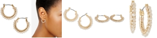 Lucky Brand Gold-Tone Small Beaded Hoop Earrings, 0.75""