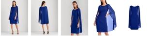 Lauren Ralph Lauren Georgette-Cape Jersey Dress
