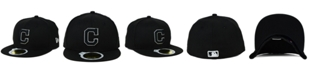 New Era Kids' Cleveland Indians Black and White Fashion 59FIFTY Fitted Cap