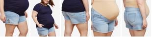 Motherhood Maternity Plus Size Embroidered Denim Shorts