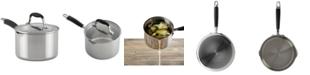 Anolon Tri-Ply Onyx 3-Qt. Stainless Steel Straining Saucepan & Lid