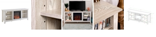 """Walker Edison 58"""" Wood TV Stand Console with Fireplace - White"""
