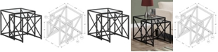 Monarch Specialties Nick Metal Tempered 2Pcs  Nesting Table in Black