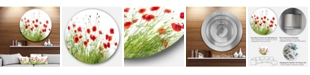 "Design Art Designart 'Poppies On White Background'Floral Metal Circle Wall Art - 23"" x 23"""