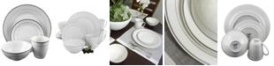 Palladine 16 Piece Dinnerware Double Platinum Banded Set