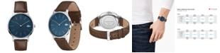 Lacoste Men's Moon Ultra Slim Brown Leather Strap Watch 40mm