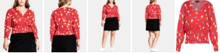City Chic Trendy Plus Size Summer Floral Top
