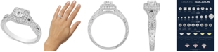 Macy's Diamond Square Halo Engagement Ring (7/8 ct. t.w.) in 14k White Gold