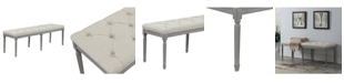 Ac Pacific Jack Button Tufted Upholstered Bench with Weathered Legs