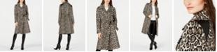 Via Spiga Animal-Print Belted Coat