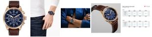 Citizen Eco-Drive Men's Chronograph Avion Brown Leather Strap Watch 48mm