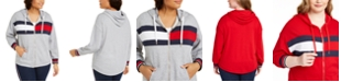 Tommy Hilfiger Plus Size Flag Colorblocked Zip-Front Hooded Sweatshirt