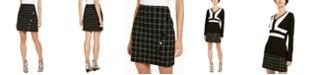 INC International Concepts I.N.C. Windowpane Plaid Button Wrap Mini Skirt, Created for Macy's
