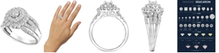 Macy's Diamond Halo Cluster Engagement Ring (1 ct. t.w.) in 14k White Gold