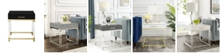 INSPIRED HOME Casandra High Gloss End Table with Acrylic Legs and Metal Base