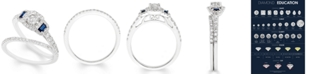 Macy's Certified Diamond (1 ct. t.w.) and Sapphire Bridal Set in 14k White Gold