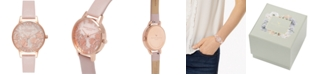 Olivia Burton Women's Semi-Precious Rose Vegan Leather Strap Watch 30mm