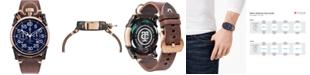 CT Scuderia Men's Swiss Chronograph Corsa Brown Leather Strap Watch 44mm