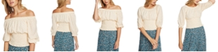 1.STATE Polka-Dot Off-The-Shoulder Top