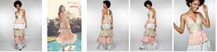Betsey Johnson Tiered Metallic Gown & Accessories
