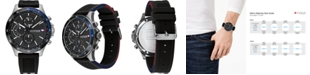 Tommy Hilfiger Men's Chronograph Black Silicone Strap Watch 46mm