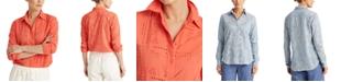 Lauren Ralph Lauren Patch-Eyelet Cotton Shirt