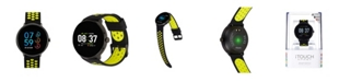 iTouch Men's Sport Black Case with Black and Lime Perforated Strap 43mm