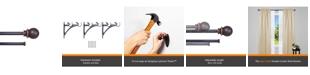 "Kenney Birkin 5/8"" Fast Fit™ Easy Install Decorative Window Double Curtain Rod 66-120"" Oil Rubbed Bronze"