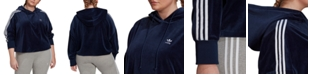 adidas Plus Size Velour Cropped Hoodie