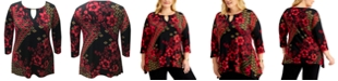 JM Collection Plus Size Printed 3/4-Sleeve Keyhole Top, Created for Macy's