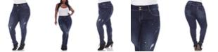 White Mark Women's Plus Size Paint Effect Dark Blue Denim Jeans