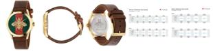 Gucci Unisex Swiss Le Marché Des Merveilles Brown Leather Strap Watch 38mm YA126451
