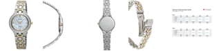 Seiko Women's Solar Diamond Accent Two-Tone Stainless Steel Bracelet Watch 28mm SUP335