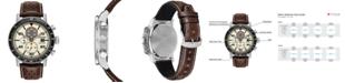 Citizen Eco-Drive Men's Chronograph Brown Leather Strap Watch 44mm