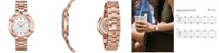Bulova Women's Rubaiyat Diamond-Accent Rose Gold-Tone Stainless Steel Bracelet Watch 35mm