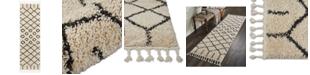 """Nourison Moroccan Shag MRS01 Cream 2'2"""" x 8'1"""" Runner Rug"""