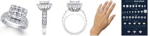 Macy's Diamond Square Cluster Halo Ring (3 ct. t.w.) in 14k White Gold